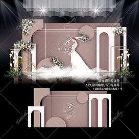 莫兰迪色系泰式主题婚礼效果图设计婚庆背景