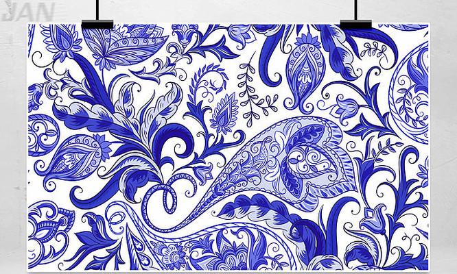 手绘青花瓷装饰背景