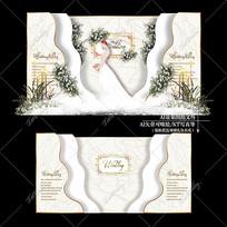 香槟色大理石婚礼婚庆迎宾区背景板