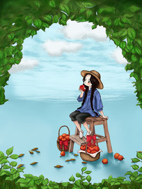 原创手绘树叶间天空下吃苹果的女孩手绘插画