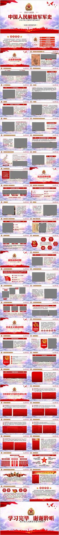解读建军节中国人民解放军军史ppt模板