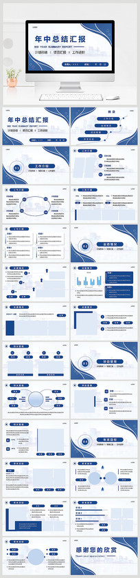 蓝色简约年中总结汇报PPT模板