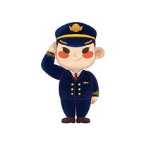 原创卡通敬礼的飞行员