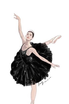 芭蕾舞黑天鹅人物插画