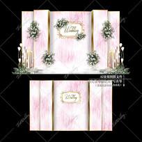 粉色系主题婚礼效果图设计婚庆迎宾区背景