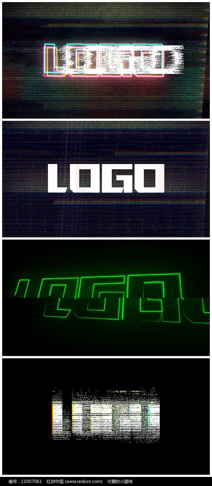 故障毛刺logo片头模板图片