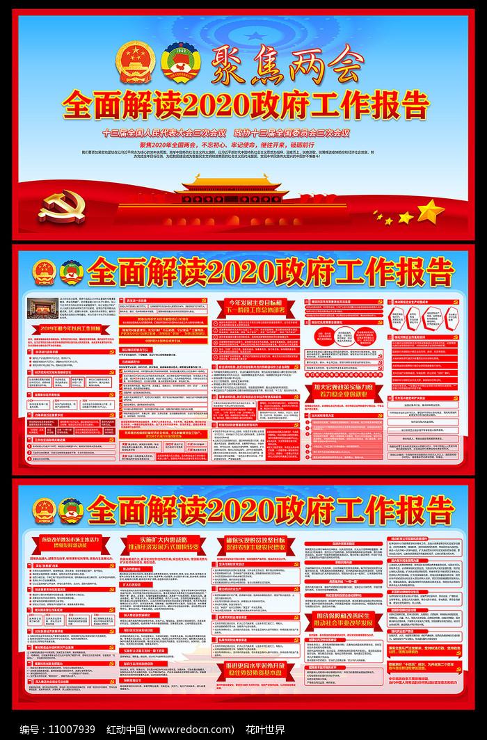 解读两会2020政府工作报告宣传展板图片