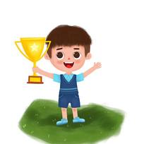 拿奖杯的小男孩