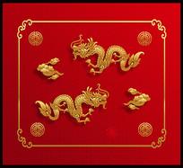 矢量中国龙红色春节元素设计