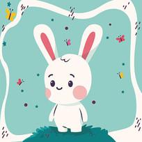 原创卡通可爱兔子插画矢量素材