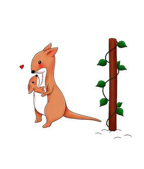 原创可爱亲子温馨两袋鼠