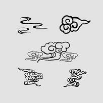 中国风水墨云纹装饰元素