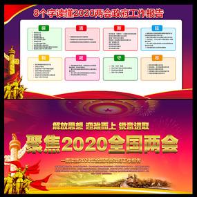 8个字读懂2020两会工作报告展板