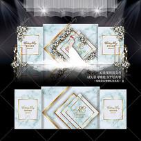 大理石主题婚礼效果图设计白绿色婚庆迎宾区