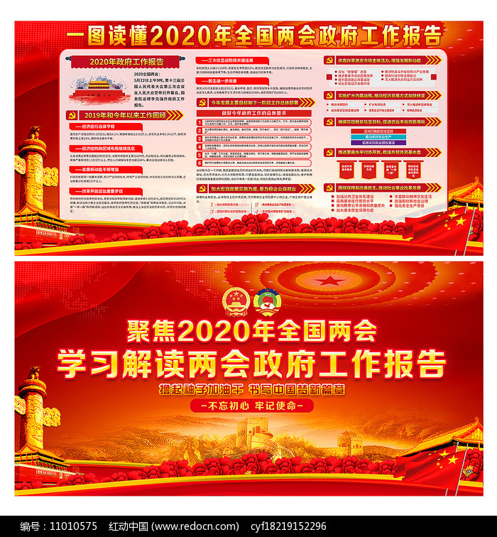 大气红色2020年全国两会精神展板