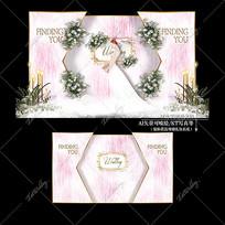 粉色系主题婚礼效果图设计大理石婚庆迎宾区