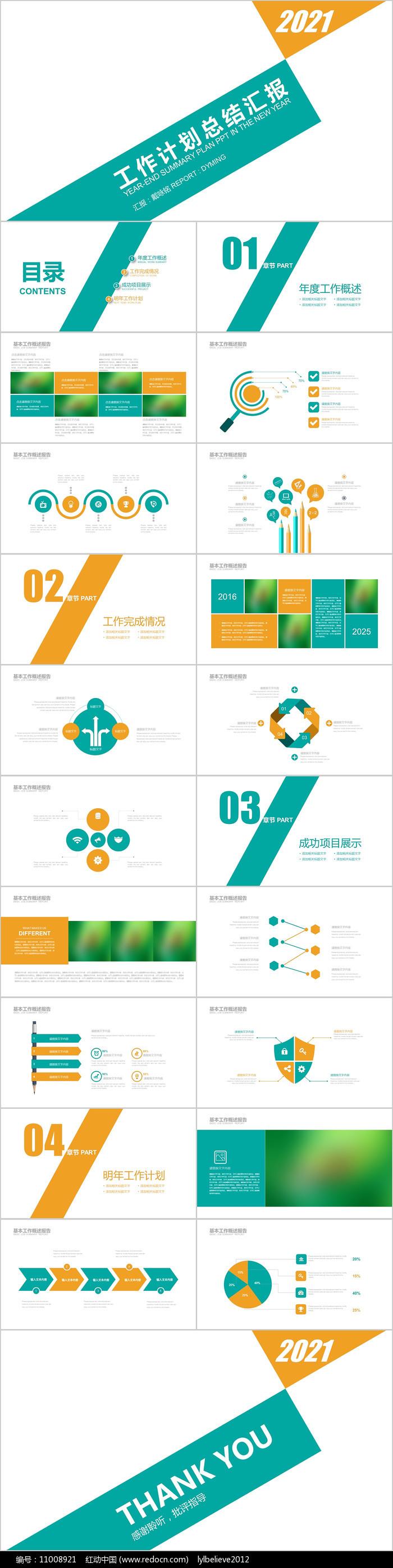 绿橙色商务工作总结计划汇报PPT模板
