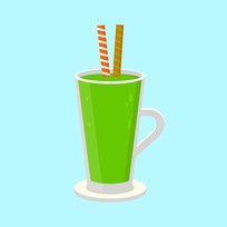 绿色矢量果汁甜品
