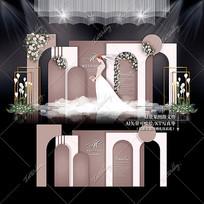 莫兰迪泰式主题婚礼婚庆背景板