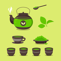 矢量绿叶茶杯茶壶矢量素材