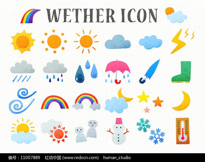 手绘卡通天气预报说明图标图片