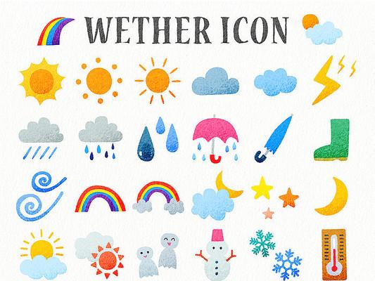 手绘卡通天气预报说明图标