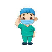 原创卡通敬礼的手术医生