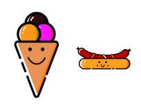 原创夏季卡通冰淇淋热狗元素