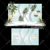 白绿色主题婚礼大理石纹婚庆迎宾区效果图
