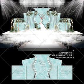 蒂芙尼蓝婚礼宴会效果图设计大理石纹婚庆