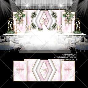 粉色主题婚礼大理石纹婚庆背景效果图设计 AI