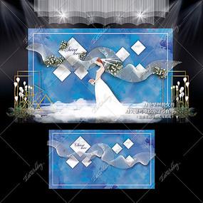 蓝白色主题婚礼效果图设计大理石纹婚庆 AI