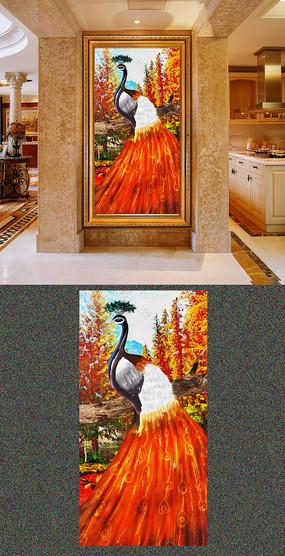 油画森林和孔雀玄关挂画设计