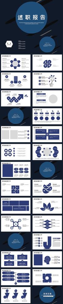 2020蓝色述职报告PPT模板