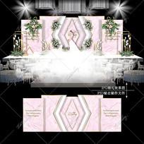 粉色主题婚礼大理石纹婚庆背景效果图设计