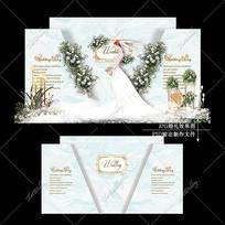 小清新主题婚礼效果图设计白绿色婚庆迎宾区