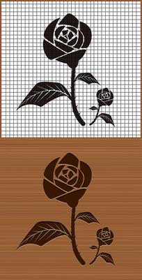 爱情玫瑰花矢量雕刻素材图