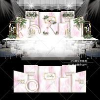 粉色系大理石婚礼效果图设计浪漫婚庆背景