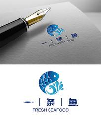 蓝色鱼水产海鲜logo