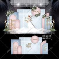 莫兰迪蓝粉色主题婚礼效果图设计泰式婚庆