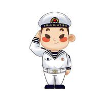 原创敬礼的卡通海军