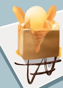 原创手绘插画面包冰淇淋甜品元素
