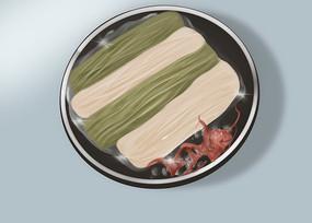 原创手绘插画面条食物美食元素