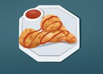 原创手绘插画食物鸡腿炸鸡元素