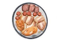 原创手绘插画午餐食物烤肉元素