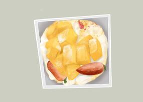 原创手绘插画下午茶食物芒果蛋糕元素