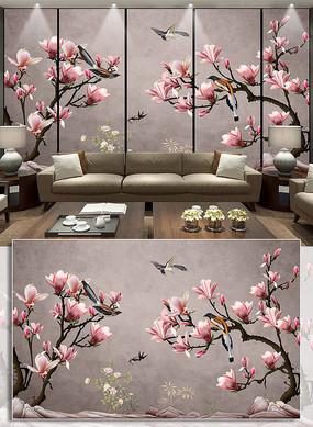 古典简约风手绘工笔玉兰花背景墙