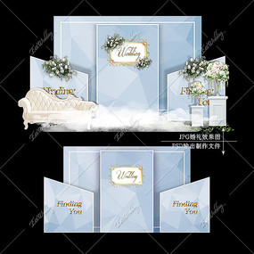 蓝色系大理石婚礼效果图设计婚庆迎宾区