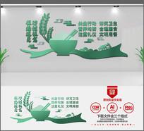 新中式创意食堂宣传文化墙设计