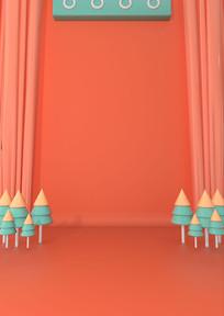 原创3D小清新海报背景墙